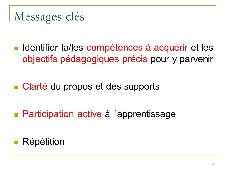 Messages clés Identifier la/les compétences à acquérir et les objectifs pédagogiques précis pour y parvenir Clarté du propos et des supports Participation active à lapprentissage Répétition 40