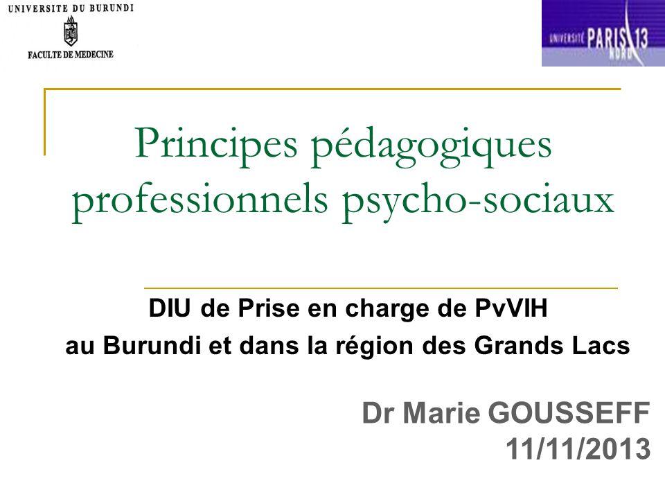 Principes pédagogiques professionnels psycho-sociaux DIU de Prise en charge de PvVIH au Burundi et dans la région des Grands Lacs Dr Marie GOUSSEFF 11/11/2013