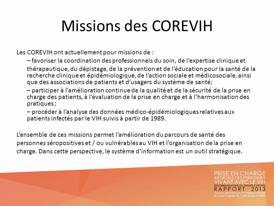 Missions des COREVIH Les COREVIH ont actuellement pour missions de : – favoriser la coordination des professionnels du soin, de lexpertise clinique et