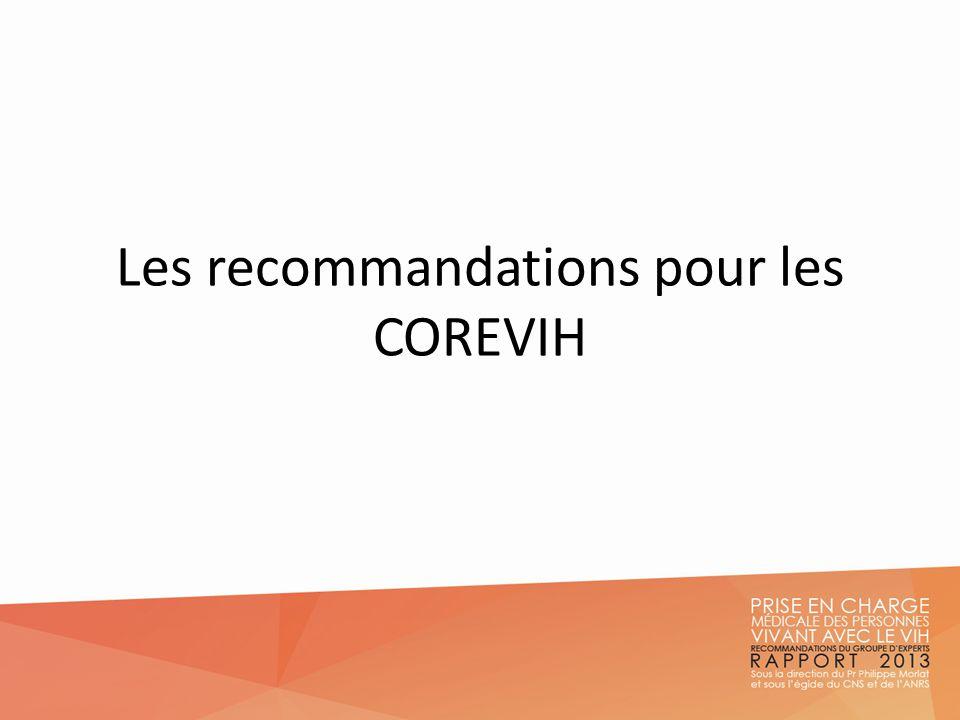 Les COREVIH Pilotage national des COREVIH et place dans la nouvelle gouvernance Liens avec le ministère de la santé : Le groupe de travail technique national COREVIH (GTN COREVIH) Mis en place, sous la responsabilité de la DGOS, pour assurer le lien entre le comité de suivi du plan VIH/IST 2010-2014 Piloté par la DGS et les COREVIH Type de structure qui doit perdurer au-delà du plan VIH/ISt Liens avec les ARS : élaboration dune charte COREVIH/ARS = outil de travail donnant COREVIH comme interlocuteurs privilégiés des ARS Organisation des soins Anne Simon