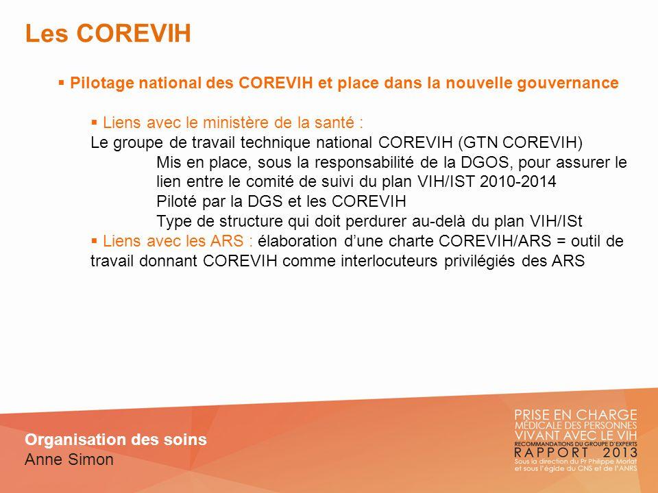 Les COREVIH Pilotage national des COREVIH et place dans la nouvelle gouvernance Liens avec le ministère de la santé : Le groupe de travail technique n