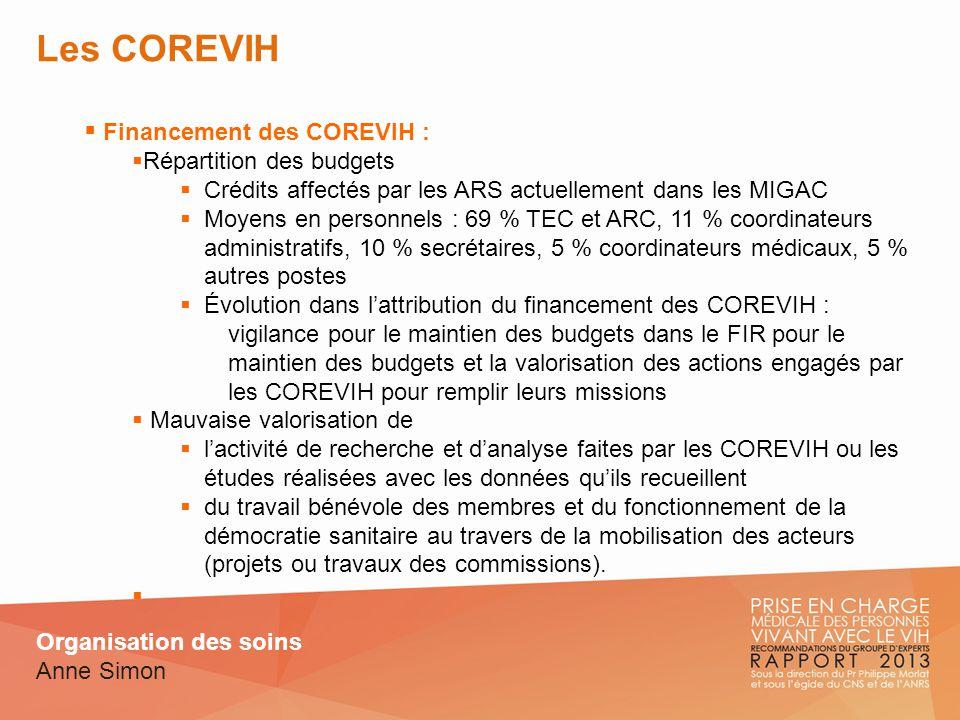 Les COREVIH Financement des COREVIH : Répartition des budgets Crédits affectés par les ARS actuellement dans les MIGAC Moyens en personnels : 69 % TEC