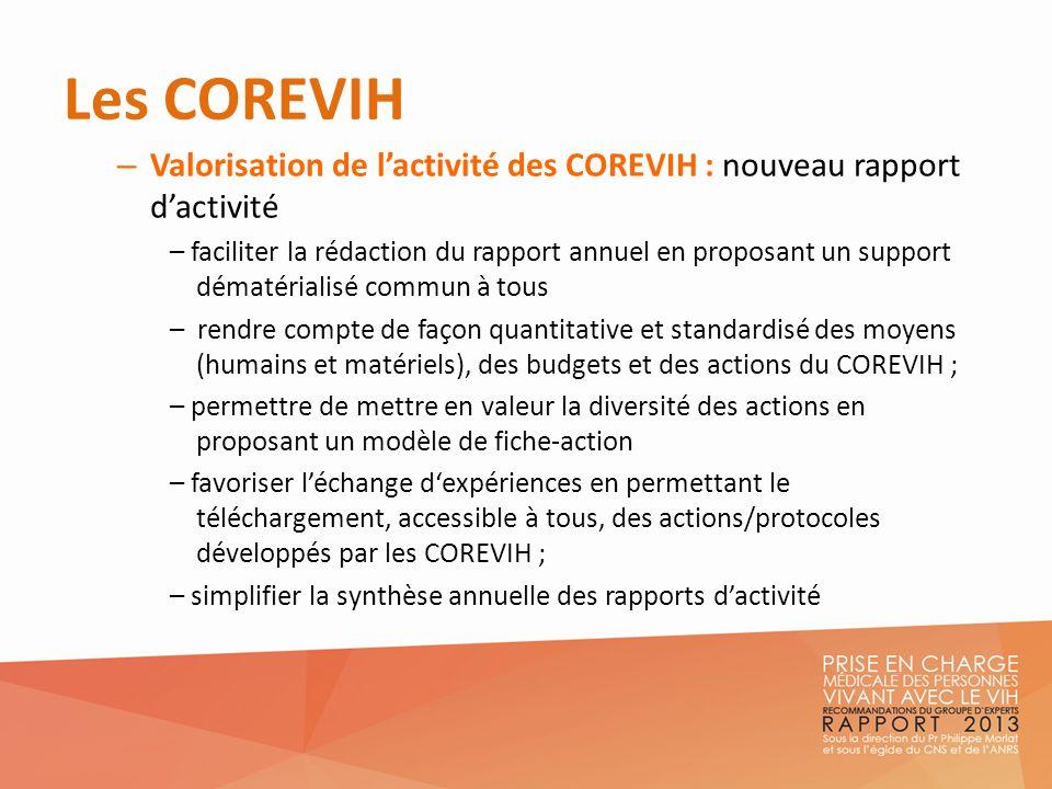 Les COREVIH – Valorisation de lactivité des COREVIH : nouveau rapport dactivité – faciliter la rédaction du rapport annuel en proposant un support dém