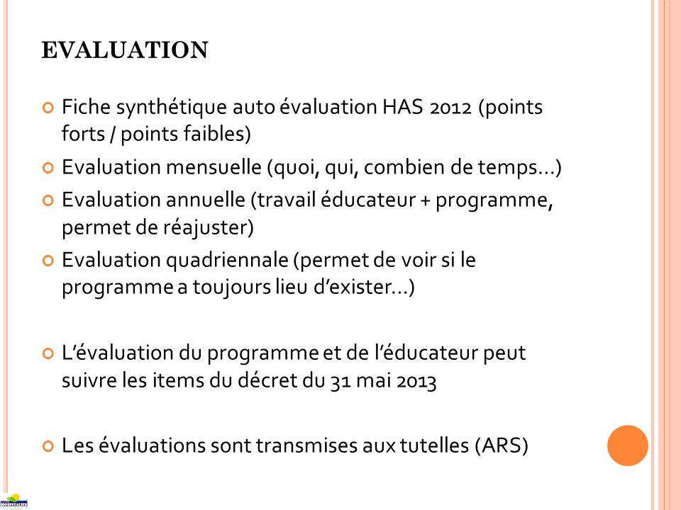 EVALUATION Fiche synthétique auto évaluation HAS 2012 (points forts / points faibles) Evaluation mensuelle (quoi, qui, combien de temps…) Evaluation annuelle (travail éducateur + programme, permet de réajuster) Evaluation quadriennale (permet de voir si le programme a toujours lieu dexister…) Lévaluation du programme et de léducateur peut suivre les items du décret du 31 mai 2013 Les évaluations sont transmises aux tutelles (ARS)