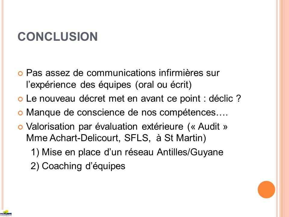 CONCLUSION Pas assez de communications infirmières sur lexpérience des équipes (oral ou écrit) Le nouveau décret met en avant ce point : déclic ? Manq