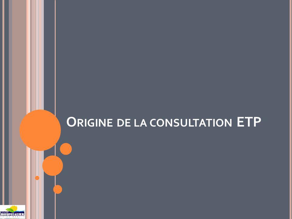 O RIGINE DE LA CONSULTATION ETP