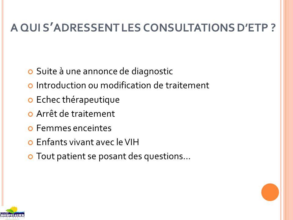 A QUI SADRESSENT LES CONSULTATIONS DETP ? Suite à une annonce de diagnostic Introduction ou modification de traitement Echec thérapeutique Arrêt de tr