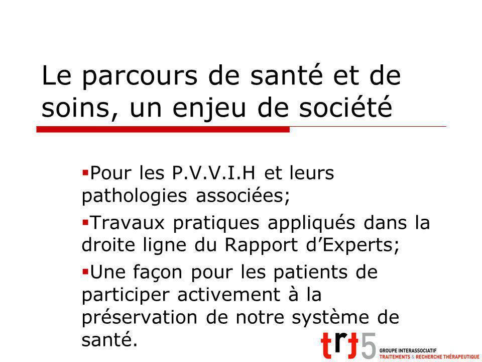 Le parcours de santé et de soins, un enjeu de société Pour les P.V.V.I.H et leurs pathologies associées; Travaux pratiques appliqués dans la droite li