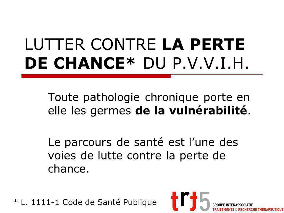 LUTTER CONTRE LA PERTE DE CHANCE* DU P.V.V.I.H.