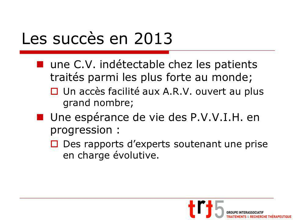 Les succès en 2013 une C.V. indétectable chez les patients traités parmi les plus forte au monde; Un accès facilité aux A.R.V. ouvert au plus grand no