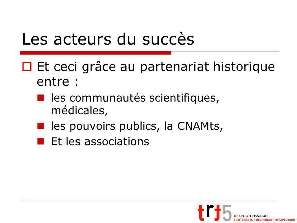 Les acteurs du succès Et ceci grâce au partenariat historique entre : les communautés scientifiques, médicales, les pouvoirs publics, la CNAMts, Et les associations