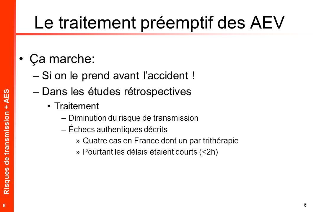 Risques de transmission + AES 6 6 Le traitement préemptif des AEV Ça marche: –Si on le prend avant laccident .