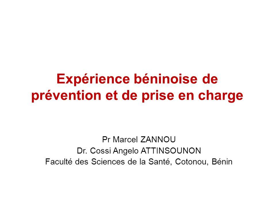 Expérience béninoise de prévention et de prise en charge Pr Marcel ZANNOU Dr. Cossi Angelo ATTINSOUNON Faculté des Sciences de la Santé, Cotonou, Béni