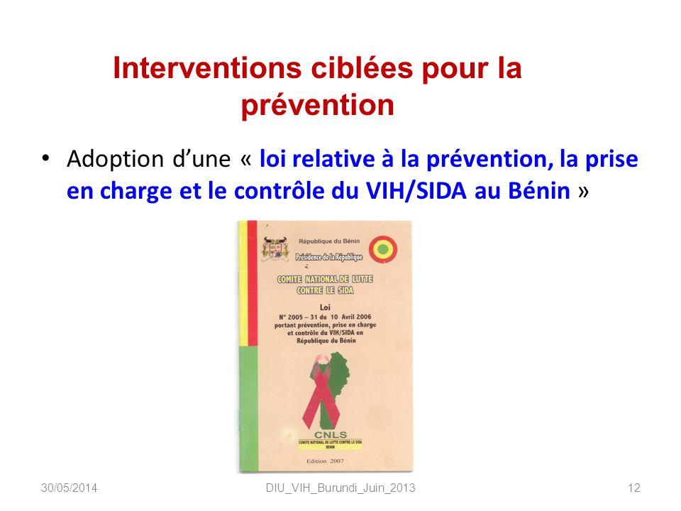 Interventions ciblées pour la prévention Adoption dune « loi relative à la prévention, la prise en charge et le contrôle du VIH/SIDA au Bénin » DIU_VI