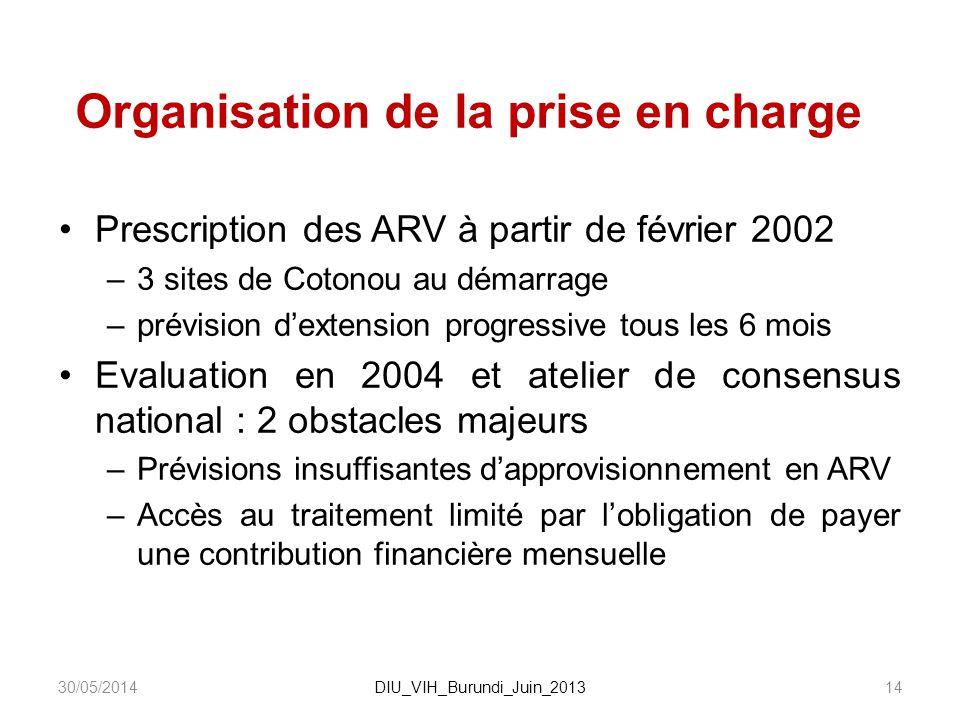 Organisation de la prise en charge Prescription des ARV à partir de février 2002 –3 sites de Cotonou au démarrage –prévision dextension progressive to