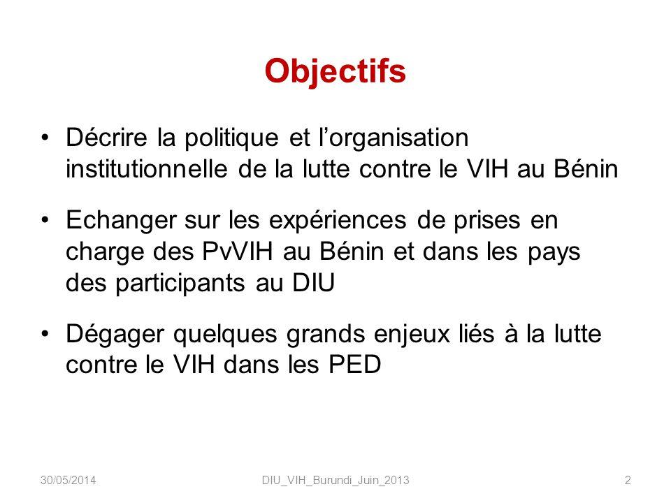 Objectifs Décrire la politique et lorganisation institutionnelle de la lutte contre le VIH au Bénin Echanger sur les expériences de prises en charge des PvVIH au Bénin et dans les pays des participants au DIU Dégager quelques grands enjeux liés à la lutte contre le VIH dans les PED DIU_VIH_Burundi_Juin_2013230/05/2014