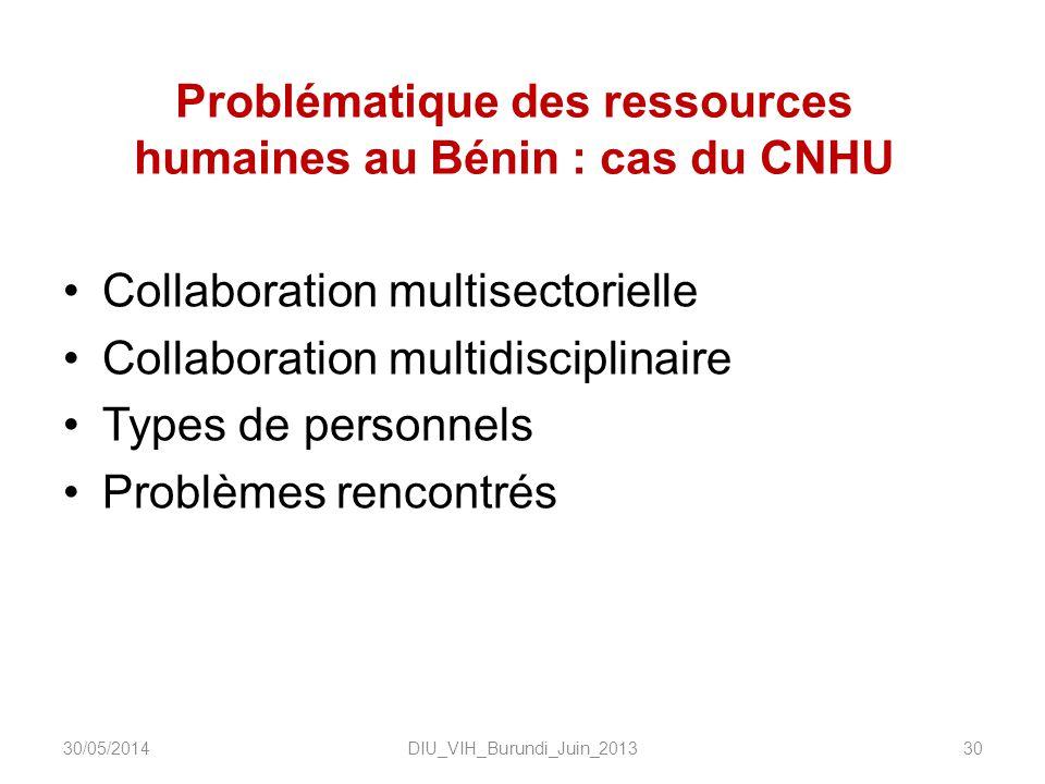 Problématique des ressources humaines au Bénin : cas du CNHU Collaboration multisectorielle Collaboration multidisciplinaire Types de personnels Probl