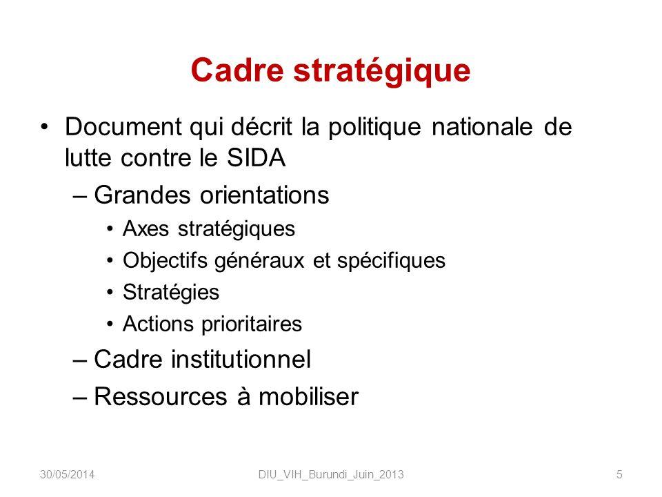 Cadre stratégique Document qui décrit la politique nationale de lutte contre le SIDA –Grandes orientations Axes stratégiques Objectifs généraux et spécifiques Stratégies Actions prioritaires –Cadre institutionnel –Ressources à mobiliser DIU_VIH_Burundi_Juin_2013530/05/2014