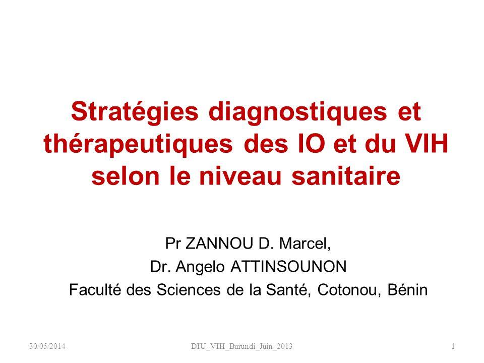 Stratégies diagnostiques et thérapeutiques des IO et du VIH selon le niveau sanitaire DIU_VIH_Burundi_Juin_20131 Pr ZANNOU D. Marcel, Dr. Angelo ATTIN