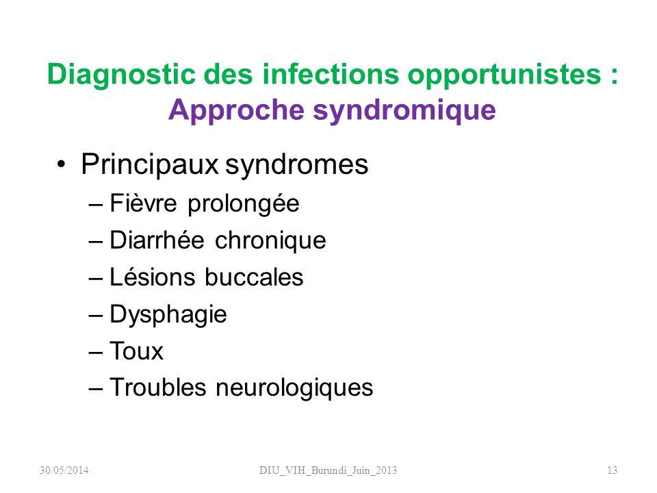 Diagnostic des infections opportunistes : Approche syndromique Principaux syndromes –Fièvre prolongée –Diarrhée chronique –Lésions buccales –Dysphagie