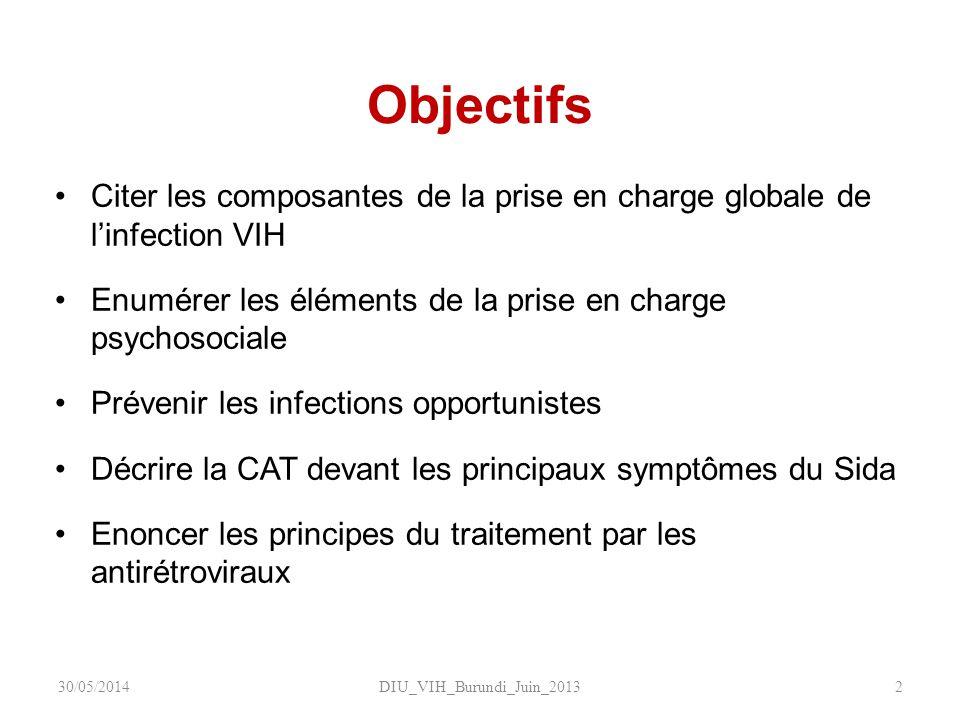 Objectifs Citer les composantes de la prise en charge globale de linfection VIH Enumérer les éléments de la prise en charge psychosociale Prévenir les