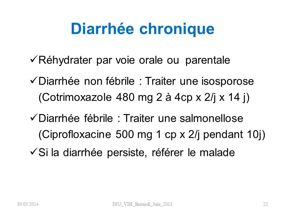 Diarrhée chronique Réhydrater par voie orale ou parentale Diarrhée non fébrile : Traiter une isosporose (Cotrimoxazole 480 mg 2 à 4cp x 2/j x 14 j) Di