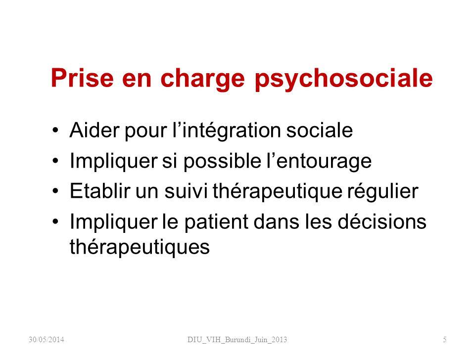 Prise en charge psychosociale Aider pour lintégration sociale Impliquer si possible lentourage Etablir un suivi thérapeutique régulier Impliquer le pa
