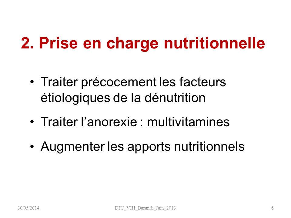 2. Prise en charge nutritionnelle Traiter précocement les facteurs étiologiques de la dénutrition Traiter lanorexie : multivitamines Augmenter les app