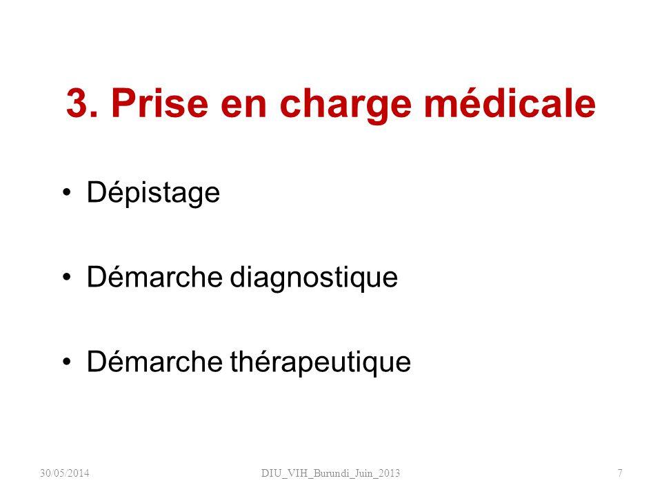 3. Prise en charge médicale Dépistage Démarche diagnostique Démarche thérapeutique DIU_VIH_Burundi_Juin_2013730/05/2014