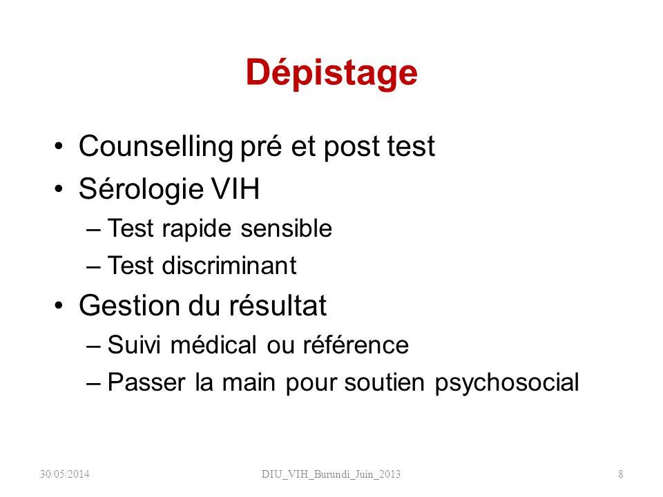 Dépistage Counselling pré et post test Sérologie VIH –Test rapide sensible –Test discriminant Gestion du résultat –Suivi médical ou référence –Passer