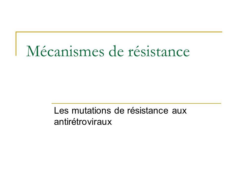 Mécanismes de résistance Les mutations de résistance aux antirétroviraux