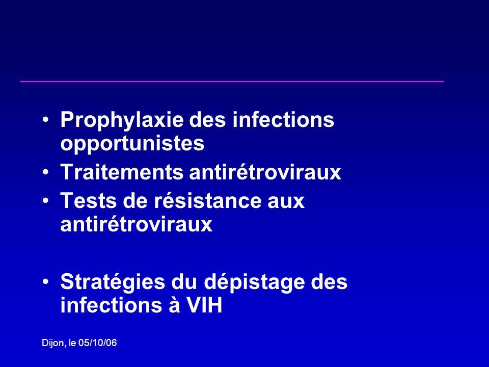Dijon, le 05/10/06 Prophylaxie des infections opportunistes Traitements antirétroviraux Tests de résistance aux antirétroviraux Stratégies du dépistage des infections à VIH