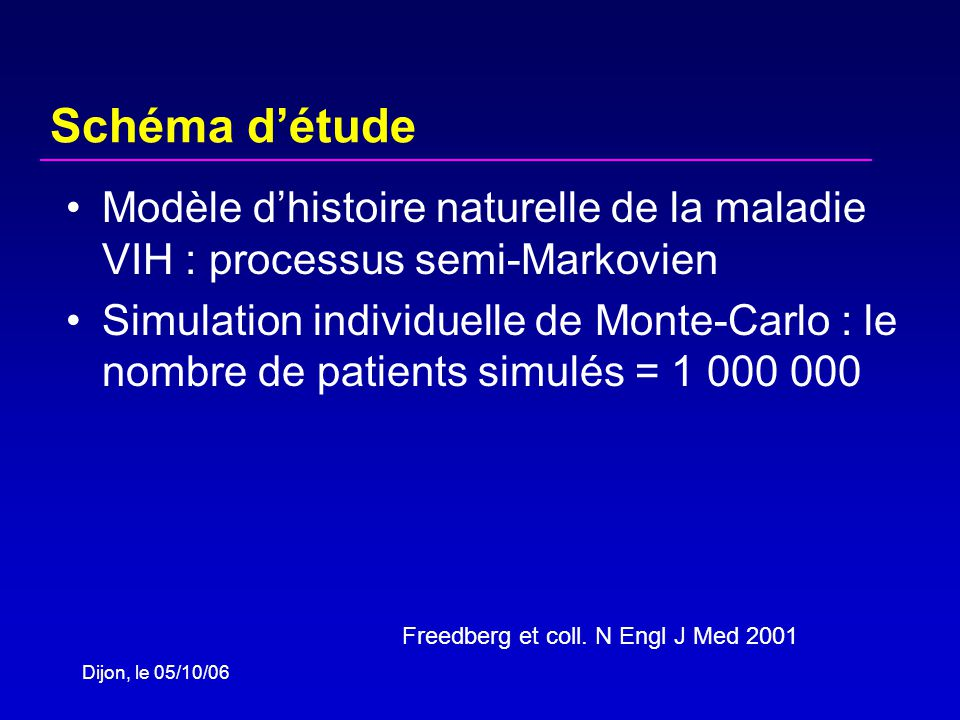Dijon, le 05/10/06 Schéma détude Modèle dhistoire naturelle de la maladie VIH : processus semi-Markovien Simulation individuelle de Monte-Carlo : le nombre de patients simulés = 1 000 000 Freedberg et coll.
