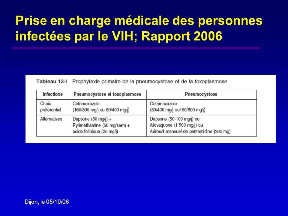 Dijon, le 05/10/06 Prise en charge médicale des personnes infectées par le VIH; Rapport 2006