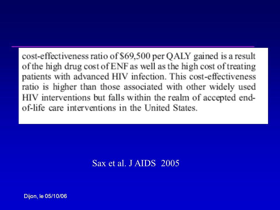 Dijon, le 05/10/06 Sax et al. J AIDS 2005