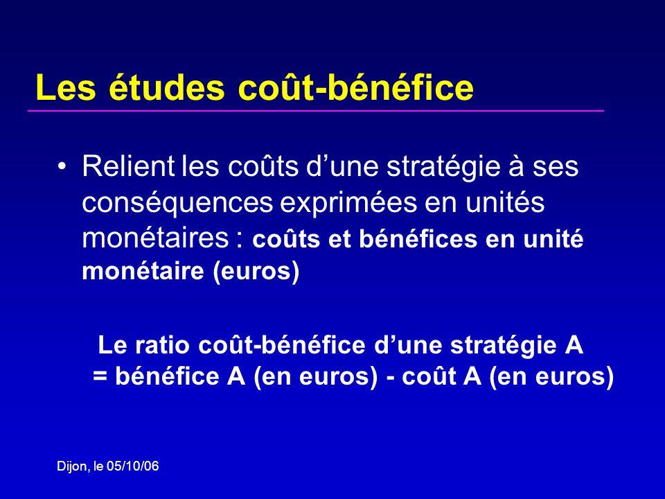 Dijon, le 05/10/06 Les études coût-bénéfice Relient les coûts dune stratégie à ses conséquences exprimées en unités monétaires : coûts et bénéfices en unité monétaire (euros) Le ratio coût-bénéfice dune stratégie A = bénéfice A (en euros) - coût A (en euros)