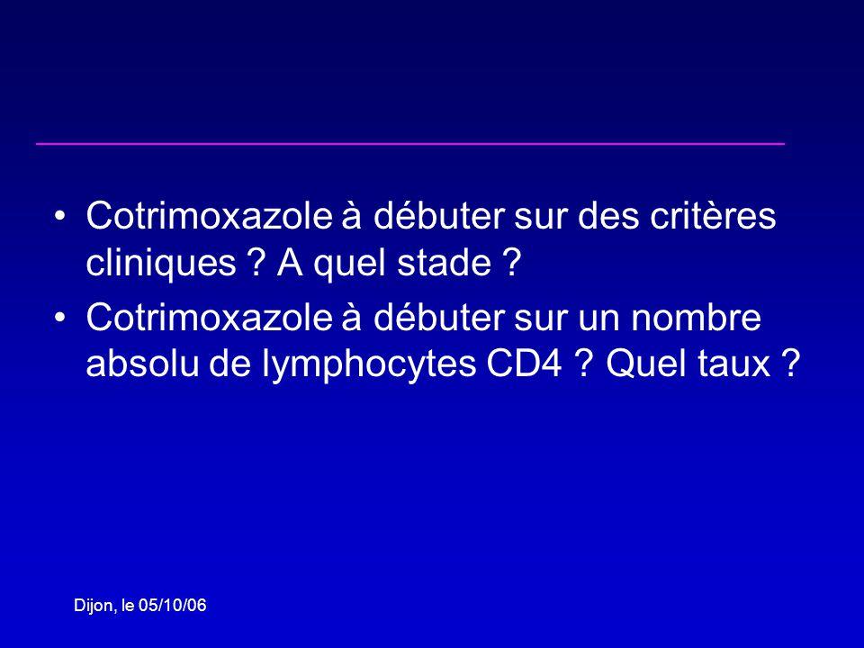 Dijon, le 05/10/06 Cotrimoxazole à débuter sur des critères cliniques .