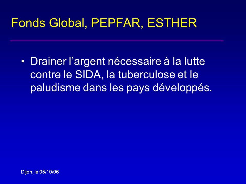 Dijon, le 05/10/06 Fonds Global, PEPFAR, ESTHER Drainer largent nécessaire à la lutte contre le SIDA, la tuberculose et le paludisme dans les pays développés.