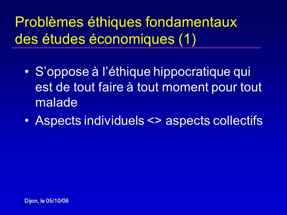 Dijon, le 05/10/06 Problèmes éthiques fondamentaux des études économiques (1) Soppose à léthique hippocratique qui est de tout faire à tout moment pour tout malade Aspects individuels <> aspects collectifs