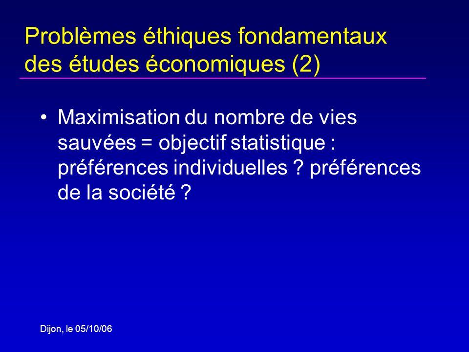 Dijon, le 05/10/06 Problèmes éthiques fondamentaux des études économiques (2) Maximisation du nombre de vies sauvées = objectif statistique : préférences individuelles .