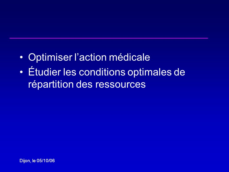 Dijon, le 05/10/06 Cost-effectiveness of other clinical interventions adopted in sub-Saharan Africa InterventionUS$/DALY Malaria control 1-121 Mother-to-child HIV transmission 1-731 Oral rehydratation therapy 58-580 Preventive therapy for tuberculosis 169-288 Onchocerciasis vector control 171-327 Co-trimo prophylaxis if WHO stage>2* 150 *$/YLS