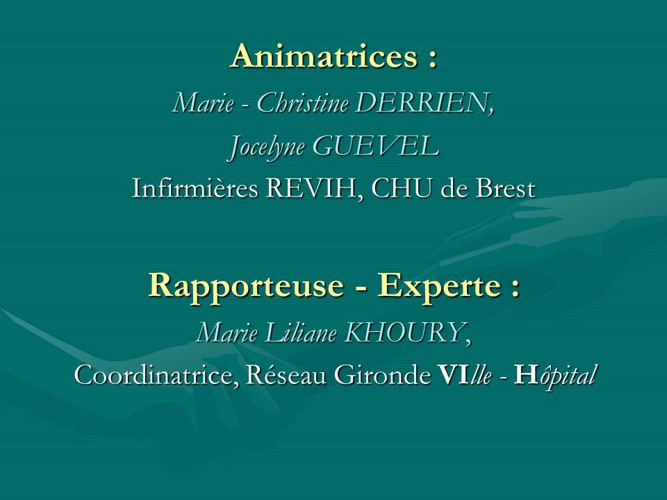 Animatrices : Marie - Christine DERRIEN, Jocelyne GUEVEL Infirmières REVIH, CHU de Brest Rapporteuse - Experte : Marie Liliane KHOURY, Coordinatrice, Réseau Gironde VIlle - Hôpital