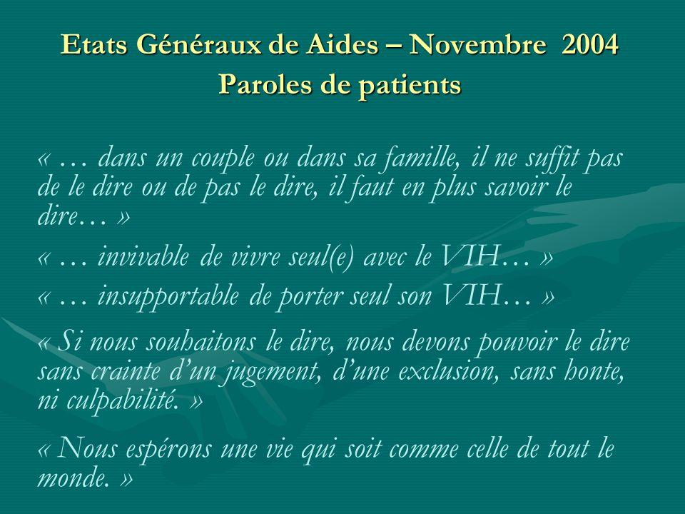 Etats Généraux de Aides – Novembre 2004 Paroles de patients « … dans un couple ou dans sa famille, il ne suffit pas de le dire ou de pas le dire, il faut en plus savoir le dire… » « … invivable de vivre seul(e) avec le VIH… » « … insupportable de porter seul son VIH… » « Si nous souhaitons le dire, nous devons pouvoir le dire sans crainte dun jugement, dune exclusion, sans honte, ni culpabilité.