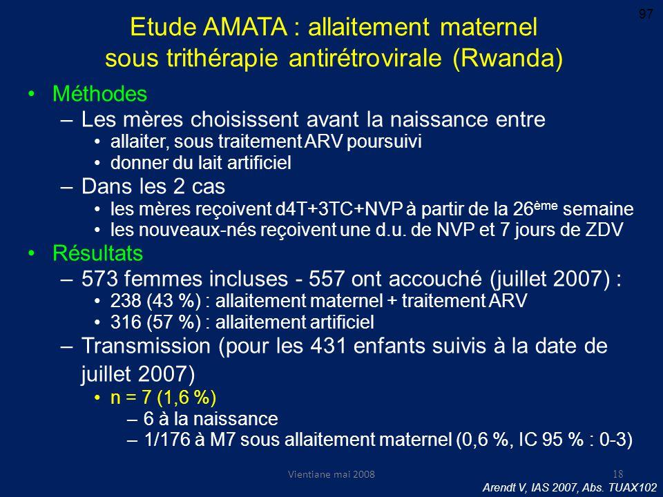 Vientiane mai 2008 Etude AMATA : allaitement maternel sous trithérapie antirétrovirale (Rwanda) Méthodes –Les mères choisissent avant la naissance entre allaiter, sous traitement ARV poursuivi donner du lait artificiel –Dans les 2 cas les mères reçoivent d4T+3TC+NVP à partir de la 26 ème semaine les nouveaux-nés reçoivent une d.u.