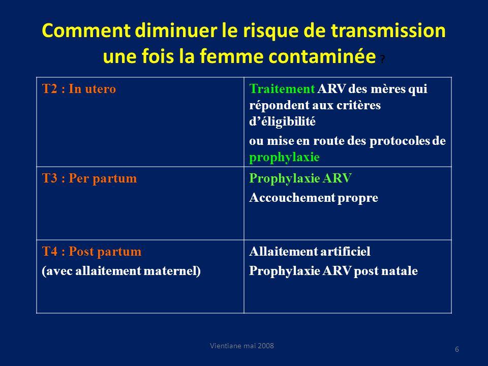 Comment diminuer le risque de transmission une fois la femme contaminée .