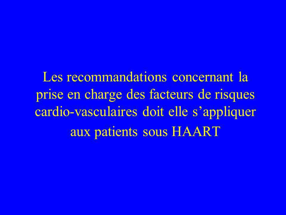 Les recommandations concernant la prise en charge des facteurs de risques cardio-vasculaires doit elle sappliquer aux patients sous HAART