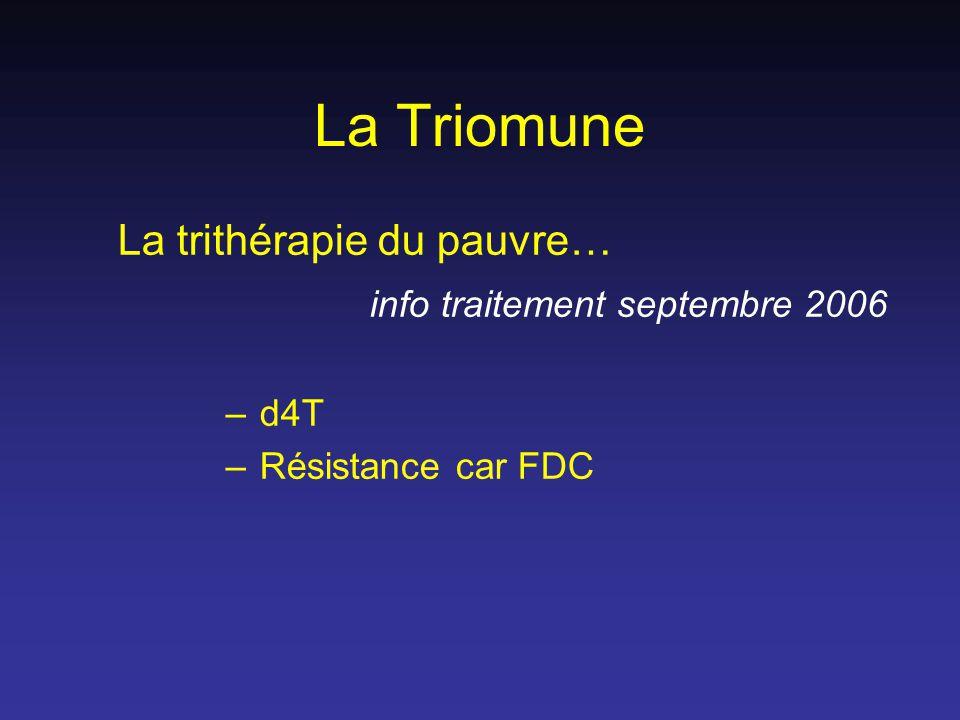La Triomune La trithérapie du pauvre… info traitement septembre 2006 – d4T – Résistance car FDC