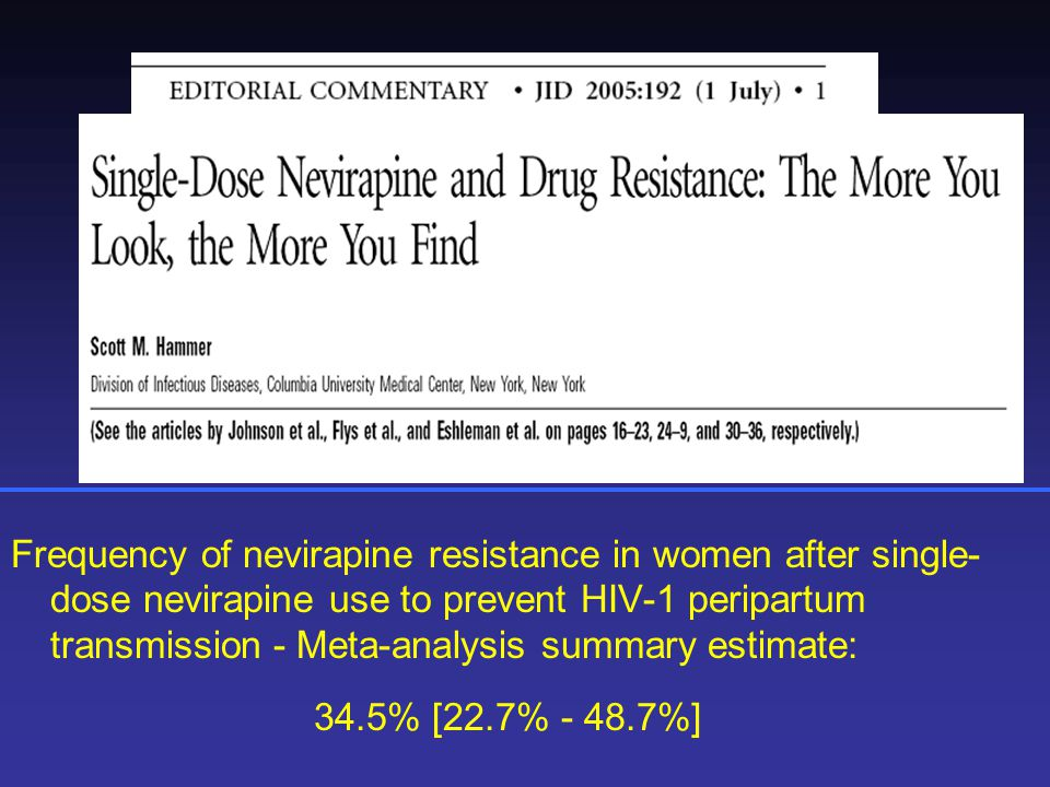 Frequency of nevirapine resistance in women after single- dose nevirapine use to prevent HIV-1 peripartum transmission - Meta-analysis summary estimate: 34.5% [22.7% - 48.7%]
