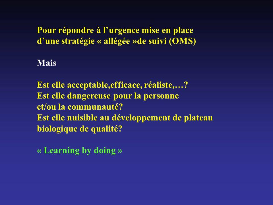 Pour répondre à lurgence mise en place dune stratégie « allégée »de suivi (OMS) Mais Est elle acceptable,efficace, réaliste,….