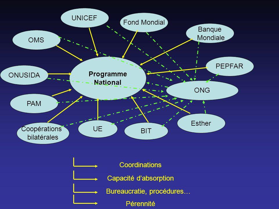 OMS UNICEF PAM Programme National Coopérations bilatérales ONUSIDA UE BIT Esther Fond Mondial ONG PEPFAR Banque Mondiale Coordinations Capacité dabsorption Bureaucratie, procédures… Pérennité
